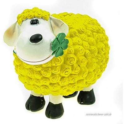 Kremers Schatzkiste Schaf Molly Glück Spardose in gelb 14 cm Deko Sparschwein Sparbüchse
