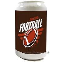 Spardose Sparbüchse Geld-Dose Wiederverschließbar Farbe Weiß Fun Football Keramik Bedruckt