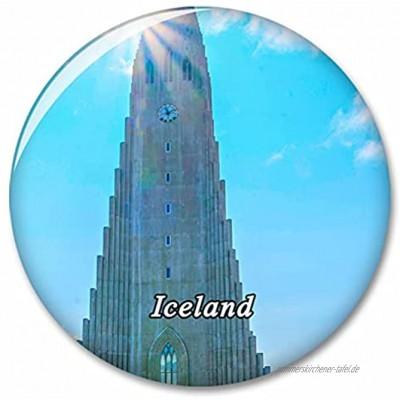 Island Hallgrimskirkja Reykjavik Kühlschrankmagnet Dekorativer Magnet Touristische Stadt Reise Souvenir Sammlung Geschenk Starker Kühlschrank Aufkleber