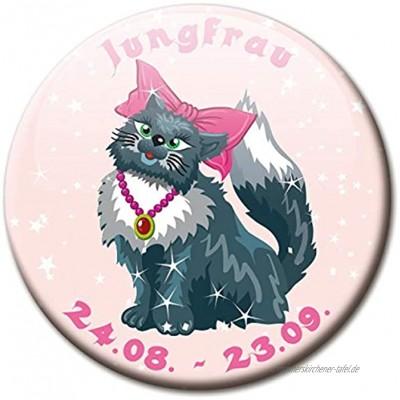 Kühlschrankmagnet Sternzeichen Jungfrau Spruch Magnet Katze lustig für Katzenliebhaber Kühlschrank stark groß 50 mm