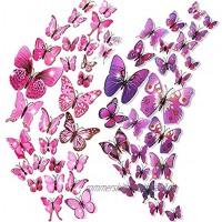 48Stk 3D Schmetterlinge Deko Wanddeko Wandtattoo Schmetterlinge Wand Dekorationen Fenster Wandkunst für Wohnzimmer Schlafzimmer Kinderzimmer Party Büro Zuhause Dekoration