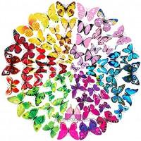 72 Stück 3D Schmetterlinge Deko Wandtattoo mit Magnet Wandaufkleber Abziehbilder für Wohnung Hause Wand Dekor Dekoration12 Blau 12 Lila 12 Grün 12 Gelb 12 Rosa 12 Rot