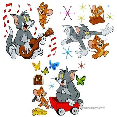 alles-meine.de GmbH 27 TLG. Set XL Wandsticker Tom und Jerry Wandtattoo Maus Katze Comic Käse Aufkleber Wandaufkleber selbstklebend für Wohnzimmer und Kinderzimmer Deko Stick