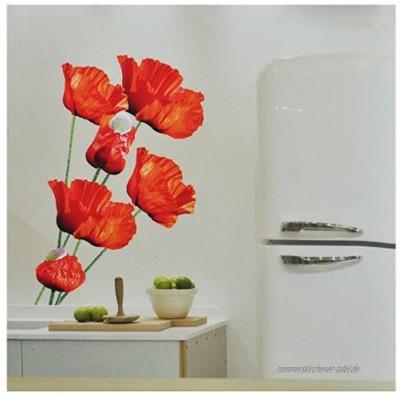 alles-meine.de GmbH XXL Wandsticker Sticker Mohnblumen mit Stengel Mohn Blüten selbstklebend für Kinderzimmer und Deko Wandtattoo Aufkleber Blumen