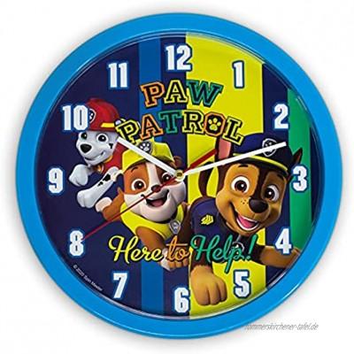 damaloo Paw Patrol Uhr Wand Kinderzimmer Paw Patrol Wanduhr mit Ziffernblatt zum Lernen Kinder Uhr für Jungen und Mädchen Kinderuhr als Lernuhr mit Paw Patrol Figuren Motiv Wall Clock