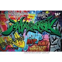 GREAT ART® XXL Poster Kinderzimmer – Graffiti – Wand Dekoration bunte Zeichen Schriftzüge Pop Art Mauer Street Style Writing Hip Hop Wallpaper Street Art Wandposter Fotoposter 140 x 100 cm