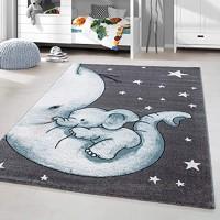 HomebyHome Kinderteppich Kurzflor Elephant Kinderzimmer Babyzimmer Grau Blau Meliert Größe:160x230 cm