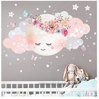 Little Deco Wandsticker Kinderzimmer Mädchen Mond & Wolken I L 77 x 38 cm BxH I Wandtattoo Babyzimmer selbstklebend Wandaufkleber Sterne Blumen Kinder DL243