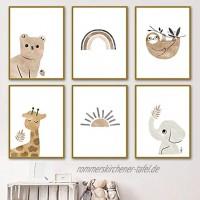 lulupila Bilder Kinderzimmer Deko Poster Babyzimmer Wohnzimmer A4 Kinderposter Kinderbilder Tiere Tiermotive Waldtiere für Kinder Junge Mädchen 6er Set V1