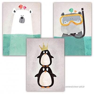 Pandawal Poster Kinderzimmer Deko Mädchen und Junge schönes Wandbilder Set Tiere Grau S27 3 Bilder im DIN a4 Format