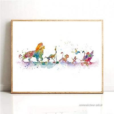 QWEWQE König Der Löwen Leinwanddruck Bild Moderne Klassische Aquarell Cartoon Simba Kunst Poster Wandkunst Bilder für Wohnzimmer Kinderzimmer deko Kein Rahmen 40x50cm