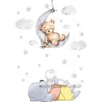 Szeridan D308 40 x 60 cm Teddybär auf dem Mond Kaninchen Wolken Sterne Tiere Himmel Wandtattoo Babyzimmer Wandsticker Aufkleber Deko für Kinderzimmer Baby Kinder XXS 40 x 60 cm