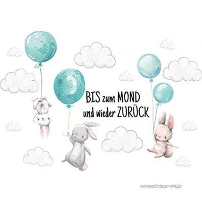 """Szeridan Kaninchen """"Bis zum mond..."""" Hase Ballons Wolken Tiere Wandtattoo Babyzimmer Wandsticker Wandaufkleber Aufkleber Deko für Kinderzimmer Baby Mädchen Junge 90x60cm"""