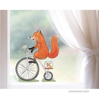 TinyFoxes Fensterbild Fuchs fährt Rad Deko für das Kinderzimmer