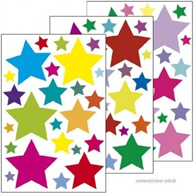"""Wandsticker""""Sterne 1"""" 72 Aufkleber auf 3 Bögen DIN A4 Wandtattoo Deko Wandkleber Aufkleber für Kinderzimmer Wohnzimmer Schlafzimmer Baybzimmer Badezimmer oder als Geschenk"""