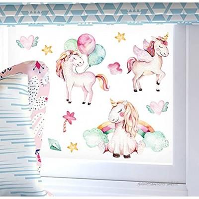 wolga-kreativ Fenstersticker Fensterdeko Fensterbilder Selbstklebend Einhorn Regenbogen Set Aufkleber Sticker Fenster Kinder wiederverwendbar selbstklebend Kinderzimmer Deko bunt