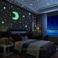 Yosemy Wandsticker Leuchtaufkleber 200 Sticker Sterne und Mond Fluoreszierend Wandaufkleber Leuchtstoff Aufkleber Für Kinderzimmer Zimmer Home Dekorative Aufkleber