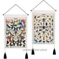 Alishomtll 2er Set Schmetterling Wandteppich Insekten Wandbehang Psychedelische Hippie Wandtuch Tapisserie für Schlafzimmer Deko Beige 35 x 50cm