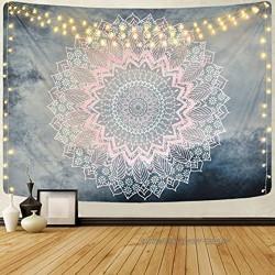 Alishomtll Mandala Wandbehang Lotus Wandteppich indisch Tapisserie Bohemien Orientalisch wandtuch Blume Wand Dekoration Grau Rosa 130 x 150 cm