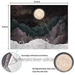 Bateruni Mond und Gebirge Wandteppich Natürliche Landschaft zu Hause genießen Tapisserie Hochwertige Beruhigend Wanddeko Wandtuch Inneneinrichtung 235x180 cm