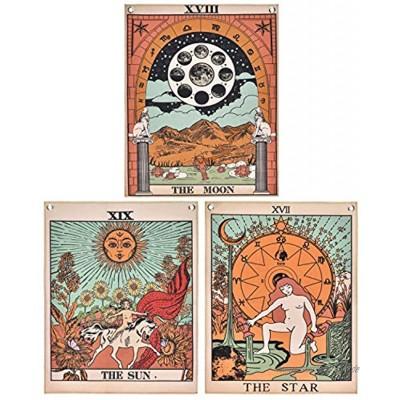 Krelymics 3er Pack Tarot Wandteppich Der Mond Der Stern und Sonne Wandteppich Mittelalterliches Europa Weissagung Wandteppich Wandbehang Dekorationen Geheimnisvoll für Schlafzimmer Wohnkultur