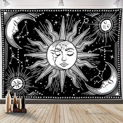 WOVTE Sonne und Mond Wandteppich Schwarz-Weiß-Wandteppich Konstellation Astrologie Wandteppich Psychedelic Mystic Tapisserie Wandbehang Natur Wohnkultur für Schlafzimmer Schlafsaal 150x130cm