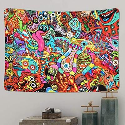 Yugarlibi Hippie Monsters Wandteppiche Bunte Abstrakte Moderne Wandbehang Decke Trippy Dekorative Tapisserie für Schlafzimmer Wohnheim 210x150cm