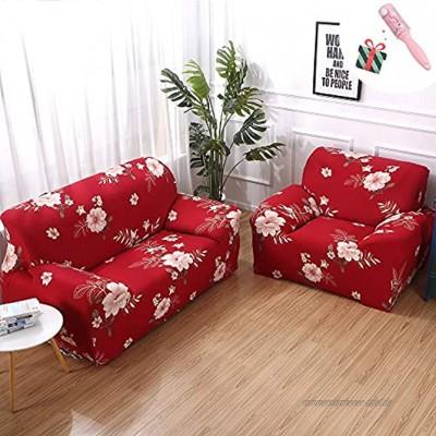 Elastisch Sofa Überwürfe Sofabezug Morbuy Ecksofa L Form Stretch Antirutsch Armlehnen Blume Sofahusse Sofa Abdeckung Hussen für Sofa Couchbezug Sesselbezug 1 Sitzer,Rot