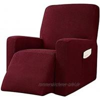 ZHUAN Liegestuhlbezug Stretch Rutschfester Liegestuhlbezug Elastischer Seitentaschen-Sofabezug Möbelschutzbezug Weinrot Liegesofa