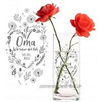 Casa Vivente Runde Blumenvase mit Gravur für Oma Wir haben Dich lieb Personalisiert mit Namen Glasvase für Schnittblumen Deko-Vase zum Großmuttertag
