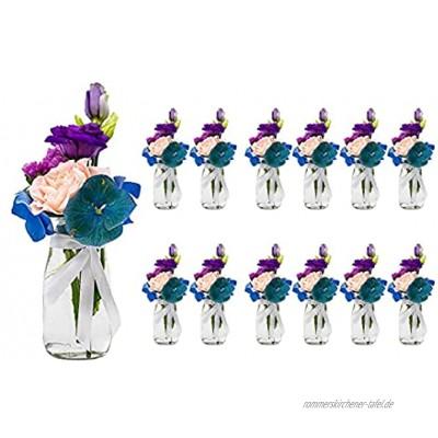 casavetro 12 x kleine Mini Vasen Set Jar-rund-100 inklusiver Band als Meterware Glasfläschchen Flasche Glas klar Deko Blumen-Vase Hochzeit 12 x 100 Weiss 10 cm hoch