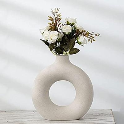 Pevfeciy Keramik vase beige Moderne deko Kunst Vase Runde Form Vasen Abstraktion Blumenvase Dekoration Ins Style Blumenvase für Home Office Dekor Geschenk für Hochzeit Einweihungsparty feiern