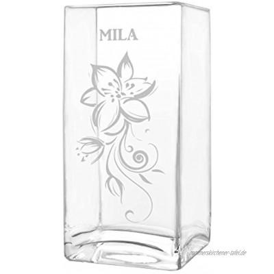 polar-effekt Blumenvase mit Gravur Vase Personalisiert mit Name Glasvase als Muttertagsgeschenk Geschenkideen für Frauen Motiv verzierte Blumenranke
