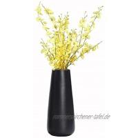 Vase Schwarz Matt Kleine Vase Keramik Blumenvase Vasen Wohnaccessoires & Deko für Wohnzimmer Küche Tisch Zuhause Büro 6.5 x 20cm