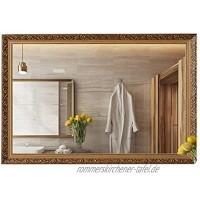 Badezimmerspiegel im europäischen Stil an der Wand montierter großer rechteckiger dekorativer Spiegel für Wohnzimmer und Eingang geschnitzter Massivholzrahmen-Kosmetikspiegel horizontal und verti