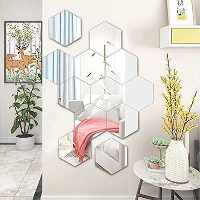 HENGBIRD sechseckiger Spiegel Wandaufkleber 12 Stücke 18.4x16cm Rahmenlos Wandspiegel DIY Dekorative HD Glas Wanddekoration für Badezimmer Küche Wohnzimmer Büro Silber