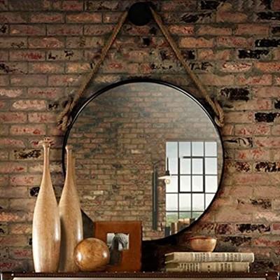 HLYT-0909 Rustikale runde Wand-Spiegel Badspiegel Badezimmerspiegel Rasierspiegel großer Kreis-dekorativer Spiegel Metall Badmöbel Spiegel Make-up Kosmetikspiegel mit hängendem Hanfseil schwarz