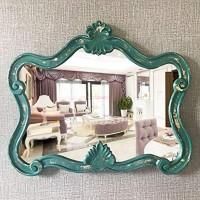 Leileixiao Klassischer Badezimmerspiegel im Retro-Stil wasserdicht dekorativer Spiegel 64 x 53 cm Grün