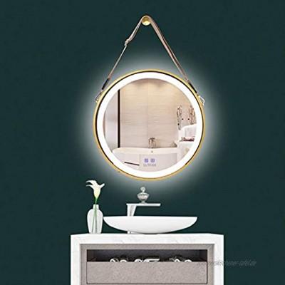 LUVODI Badspiegel mit Beleuchtung Wandspiegel Badezimmerspiegel rund Ø50cm Anti-Beschlag dekorative wandspiegel Gold mit Band 3000-6000K dimmbar IP44 wasserdicht Energiesparend