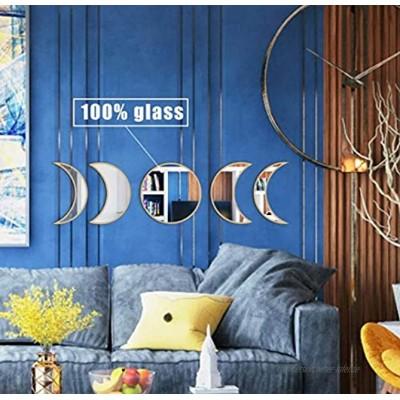 MAXROCK Mond Phase Spiegel Set Wandmontagewand Dekor Spiegel Boho Akzente Raumdekoration skandinavische Natur Wandbehang Glas Mond Spiegel Wand Deko für Schlafzimmer Wohnzimmer Punchless