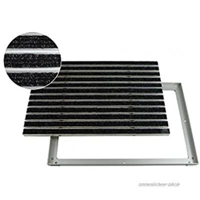 EMCO Eingangsmatte DIPLOMAT Rips anthrazit 22mm + ALU Rahmen Fußmatte Türmatte Schuhabstreifer Größe:750 x 500 mm