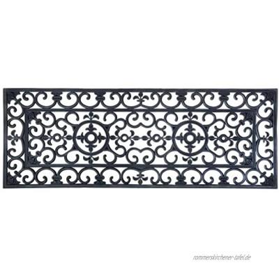 Esschert Design Schmutzfangmatte Fußmatte in schwarz aus Gummi rechteckig Größe XL extra breit ca. 120 cm x 45 cm