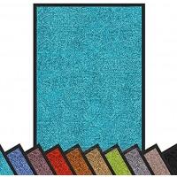 Floordirekt Schmutzfangmatte Rhine | waschbare & leistungsstarke Fußmatte | Sauberlaufmatte mit Rutschfester Rückseite | Türmatte in vielen Größen & Farben Türkis 90 cm x 120 cm