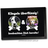 Fußmatte mit Hunden & Katzen Klingeln überflüssig Personalisiert mit Foto und Wunschnamen Zwei Tiere 60 x 40 cm