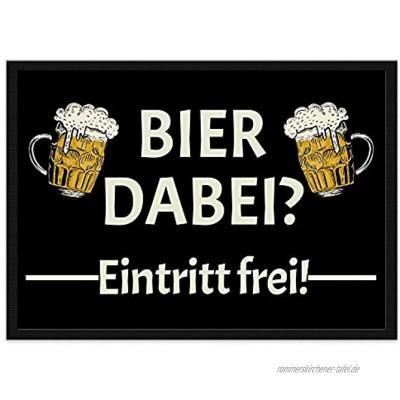 Lustige Fußmatte mit Spruch für die Haustür Bier dabei Eintritt frei! Fußabtreter als Geschenkidee für Männer rutschfest 60 x 40 cm