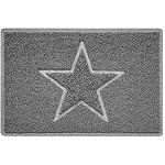 Nicoman Star Geprägt Fußmatte-Geeignet für Innen- und Schützen Außen Klein 60x40cm Grau