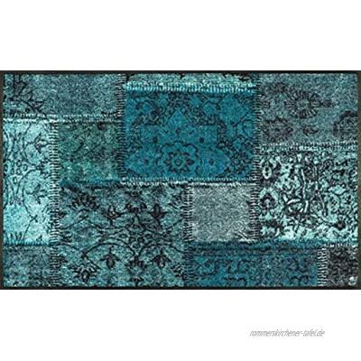 wash+dry Vintage Patches türkis Fußmatte Polyamid grün 75x120cm