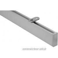 Gardineum 1,20 m eckige Vorhangschiene Gardinenstange Innenlauf Deckenmontage modern alu-Silber 1-Lauf- Komplettset mit Zubehör