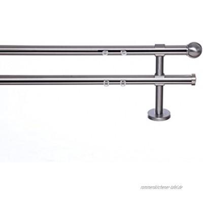 indeko TONDO Gardinenstange mit Innenlauf Ø 20mm auf Maß 2-Lauf edelstahloptik Komplettset mit Zubehör