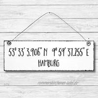Hamburg Koordinaten Dekoschild Türschild Wandschild Holz Deko Wand Tür Schild 10x30cm Holzdeko Holzbild Geschenk Mitbringsel Geburtstag